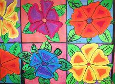 Paintbrush Rocket: 3rd Grade - Georia O'Keeffe Flowers::: ANALOGOUS COLORS