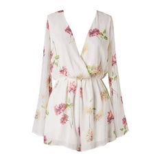 Floral Obsession Romper | HGRJ15 ($46) ❤ liked on Polyvore featuring jumpsuits, rompers, playsuit, dresses, jumpsuit, playsuit jumpsuit, jumpsuits & rompers, white romper, white jumpsuit romper and playsuit romper