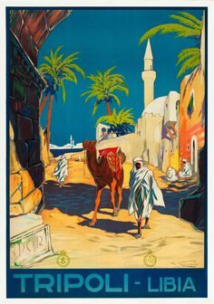 TRIPOLI LIBIA Travel Poster Vintage 1930-40's Digital Art Print