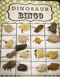"""Dino- Bingo ROCKS!  Literally!  Create a fun and easy game for little ones...a mixture of activity areas, structured activities, and """"free play"""" time keeps kids engaged and happy!"""