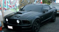 2007 mustang gt matte black with gloss racing stripe | murdered out black matte black rims smoked tail lights and blacked out ...