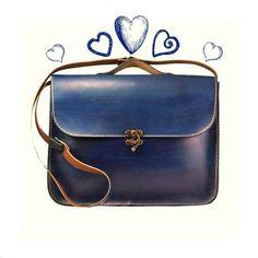Blue Leather Laptop Bag Briefcase Messenger Bag por ammaciyo