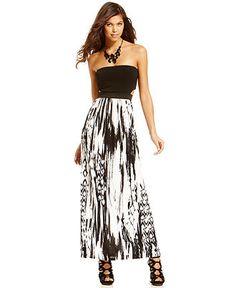 Urban Hearts Juniors Dress, Strapless Printed Cutout Maxi - Juniors Dresses - Macy's