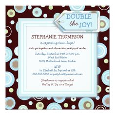 Glad Blue Dots Twin Boy Child Bathe Invitation. *** Find out more by going to the photo link