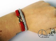 Simple Holiday Inspired Layered Infinity Bracelet