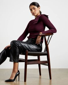 Extravagant bow jumper - Oxblood | Knitwear | Ted Baker UK Holly Willoughby Outfits, Holly Willoughby Style, Ted Baker Stores, Asymmetrical Skirt, Oxblood, Business Attire, My Wardrobe, Work Wear, Knitwear