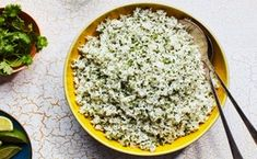 This homemade version of a popular Chipotle restaurant menu item livens up plain white rice with lime juice and tons of cilantro. Serve it as a side dish or top with cooked vegetables and salsa to make a quick burrito bowl. Rice Recipes For Dinner, Side Dish Recipes, Side Dishes, Rib Recipes, Mexican Recipes, Yummy Recipes, Chipotle Rice, Cilantro Lime Rice, Lima Bean Recipes