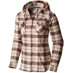 Mountain Hardwear Women's Stretchstone LS Hooded Shirt (275 BRL) ❤ liked on Polyvore featuring tops, purple plum, long sleeve shirts, brown flannel shirt, hooded long sleeve shirt, long-sleeve shirt and brown long sleeve shirt