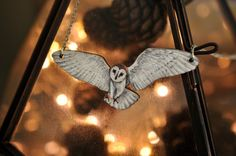 Flying Barn Owl Bird Necklace Illustrated by BattlekatsBoutique