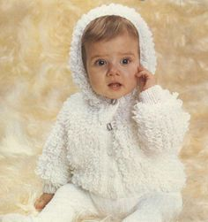 Super Cute Loopy Hooded Cardigan Baby Vintage DK Knitting Pattern