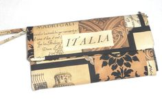 Wallet / Wristlet / CheckBook / Cell Phone / Sepia Postcard Italia - pinned by pin4etsy.com