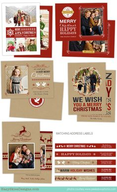 Holiday Card  Photoshop Templates for Photographers  #christmas card template #holiday #photographer #photography #photo card #templates #photoshop #templates for photographers