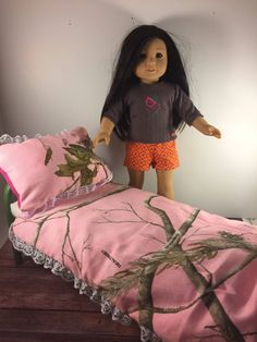 18 Inch Doll Bedding;Doll Blanket;Dollhouse;Pink Camo Blanket;Doll Bed Set;Custom Doll Bedding;Doll Accessories;Doll Pillow;Girls Gift by AllAboutThemDolls on Etsy