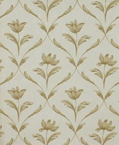Sophia Wallpaper A beautiful wallpaper inspired by eighteenth century Swedish design, of single flowers framed by a leaf trellis in linen on a beige background