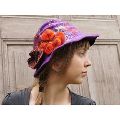 Purple hand-felted hat with butterfly and flower. OOAK (270 PLN) ❤ liked on Polyvore featuring accessories, hats, purple hat, butterfly hat and flower hat