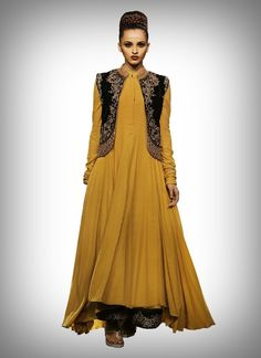 Vikram Phadnis Yellow Flared Anarkali