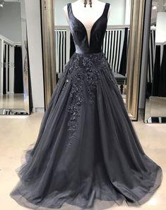Elegant V-Neck Long Prom Dresses Applique Evening Dresses Black Evening Dresses, Cheap Evening Dresses, Prom Dresses, Formal Dresses, Applique Dress, Dress For You, Wedding Events, Ball Gowns, Party Dress