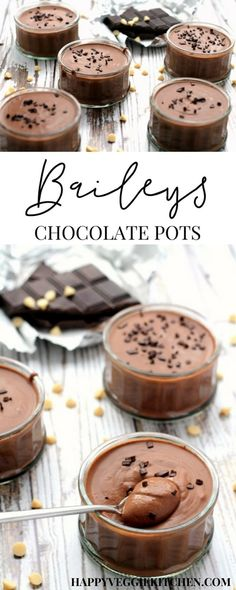 Dessert Pots A 3 ingredient 15 minute Baileys dessert to impress Rich and flavorful with a super creamy luxurious texture similar to chocolate mousse I pack it with a dou. Mini Desserts, Make Ahead Desserts, Best Dessert Recipes, Christmas Desserts, Easy Desserts, Delicious Desserts, Jewish Desserts, Spanish Desserts, Strawberry Desserts