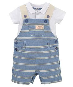 Striped Chambray Bibshorts and Bodysuit Set - dungaree sets - Mothercare