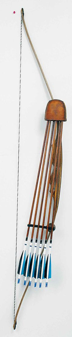 Selway leather hood 6 arrow longbow bow quiver large image.