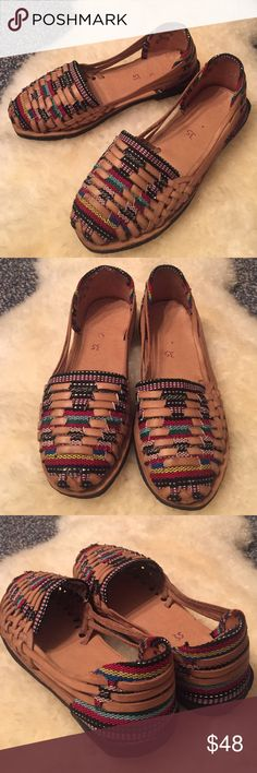 Handmade Huaraches Mexican Sandals Never been worn Mexican Huaraches sandals. Handmade from yucatan, Mexico. Leather and colorful fabric woven on top and back of the sandal. Says size 35- Fits a size 6 runs small but they do stretch out and form to your feet once you wear them in and become the most comfortable ever! **not free people Free People Shoes Sandals Mexican Shoes, Mexican Stuff, Women Sandals, Shoes Sandals, Flats, Crazy Shoes, Me Too Shoes, Mexican Party, Summer Time