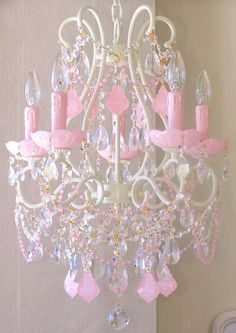 Vintage Inspired Beaded Chandelier 1325 Opal Pink Crystals 5 Light-vintage, pink, romantic, sparkle, crystals, white, cream, lavender, shade, chandelier, night light, upscale,