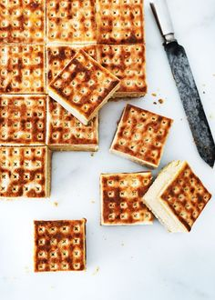 {Salted caramel cheesecake sandwiches.}