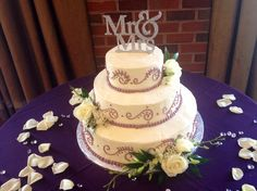 3 Tier #wedding #cake by Teatime Delicacies, Inc  with #sangria trim www.teatimeinc.com