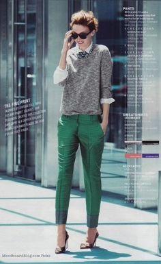 Graphic green pants + Sweatshirt + Statement necklace | J. Crew