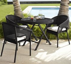 Palmetto All-Weather Wicker Folding Round Fixed Bistro Table - Black #potterybarn