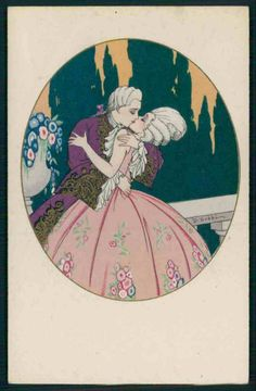 """ART DECO hand painted pochoir Love kiss romance original old 1920s postcard - CAD $23.25. Looking for more Artist Signed items ? Original old from c1920s Artist Signed postcard . Caption : . Publisher / Editor / Series : . Condition : Very Good (no tears). Light creases or light bends. Corners may be a bit blunt or rounded. Size : Approx. 3.5"""" x 5.5"""" ( 9 x 14 cm). --All my items are ORIGINAL VINTAGE -- I never sell reproductions -- SHIPPING COST Regular airmail: $2.00 Worl..."""