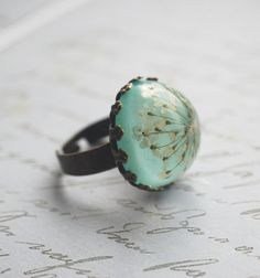 Real Flower Ring Resin Jewelry Turquoise Mint Jade Green Queen Anne's Lace Botanical Specimen Antique Adjustable Rustic Natural Woodland, $22.00