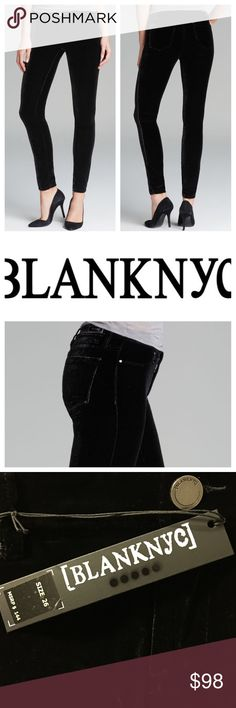 """Super Skinny Velvet Slacks Showcase your scandalous chic in a velvet piece wrapped in [BlankNYC]™ style. High-rise pant features a super-skinny jegging fit for a sleek, lean silhouette. Soft and luxe velvet fabric. Branded hardware. Black patent leather brand patch at back. Inset rivet detail at back left pocket. Five-pocket design.  From waist to hem 38"""", inseam 33"""", 26"""" waist. Belt-loop waistband. Zip fly with button closure. 82% rayon, 15% silk, 3% spandex. Machine wash and tumble dry low…"""
