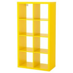 IKEA - KALLAX, Shelf unit, yellow, Choose whether you want to place it vertically or horizontally to use it as a shelf or sideboard. This furniture must be secured to the wall with the enclosed wall anchoring device. Bookcase Storage, Cube Storage, Shelving Units, Ikea Kallax Shelf Unit, Ikea Yellow, Bright Yellow, Ikea Kallax Regal, Ikea Home, Shopping