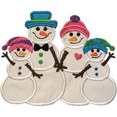 Snowman Family Two Kids Applique by HappyApplique.com