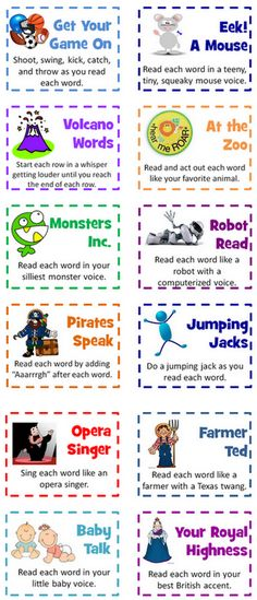 Word Chants with a twist….or an Aaarrrgh!  Each card gives a unique way in which the chant should be done.  Such as…  Sing each word like an opera singer.  Read each word like a robot with a computerized voice.  Read each word as you pose like a statue.