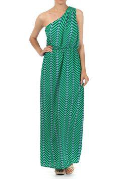 Green One Shoulder Printed Maxi Dress