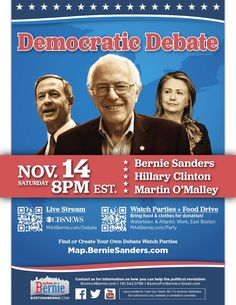UPDATE (11/12/2015 12:37AM): The debate time has been moved to 9PM EST.  Tune in THIS Saturday at 9PM EST. for the 2nd #DemDebate on @CBSNews. #FeelTheBern #Bernie2016 #BernieOrBust — with Bernie Sanders.
