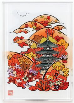 japan stamps | beautiful big stamp Japanese temple in autumn - Stamps - Stationery ...