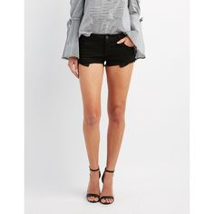 Refuge Super Shortie Denim Cut-Off Shorts ($25) ❤ liked on Polyvore featuring shorts, black, micro shorts, fringe shorts, micro denim shorts, zipper pocket shorts and low rise denim shorts