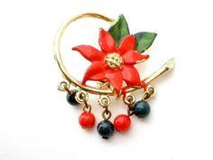 Vintage Christmas Enamel Poinsetta Brooch Holiday Pin