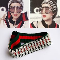 69b1ab9355c yourtreasures   New 2 Colors Luxury Striped Hair Bands Full Rhinestone  Elastic Headband Designer Headband Bandana Headbands Gifts for Women