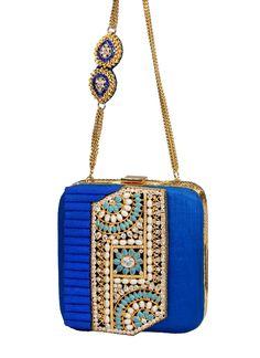 Meera Mahadevia Blue Textured Box Clutch