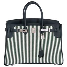 Hermes Birkin 35 Toile Riga/Veau Swift Leather Ecru-Vert Anglais/Vert Fonce | From a collection of rare vintage top-handle-bags at https://www.1stdibs.com/fashion/handbags-purses-bags/top-handle-bags/