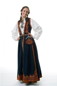 """""""Vest-Telemark bunad"""" from Vest-Telemark, Telemark, Norway. I'm not sure about how many choices and variations you have in this bunad. Folk Costume, Costumes, Looking For Someone, Silver Accessories, Traditional Dresses, Norway, Most Beautiful, Vest, How To Wear"""