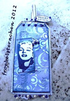 Marilyn Monroe for Moo-Mania-Challenge on a tag     (Moo size = 1,1 x 2,8 inches) by susi froebelsternchen; Do you MOO? I have never heard of these until I saw this board. I find these awesome!!!