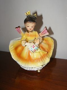 Vintage Josef  ? Girl In Yellow Dress With Sprinkling Can Planter