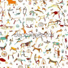 Pinturas rupestres con personas etnia, de patrones sin fisuras, Ilustración de vectores