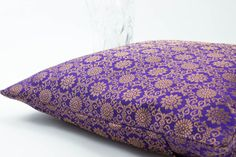 Decorative throw Pillow cover Purple/Gold Accent Pillow,Silk Pillow 18 x 18 inch,Floor Pillow, Gold Accent, Bed and Sofa.