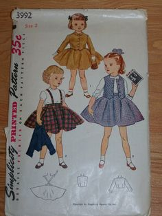 1950s Vintage Childs Dress Pattern Simplicity 3992 Sz 2 Chest 21 Busy Hands Quilts